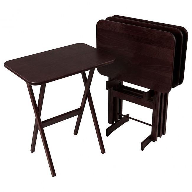 Folding Tv Tray Table With Stand Set Of 4 @ Manchesterwood Throughout Most Current Folding Tv Tray (View 20 of 20)
