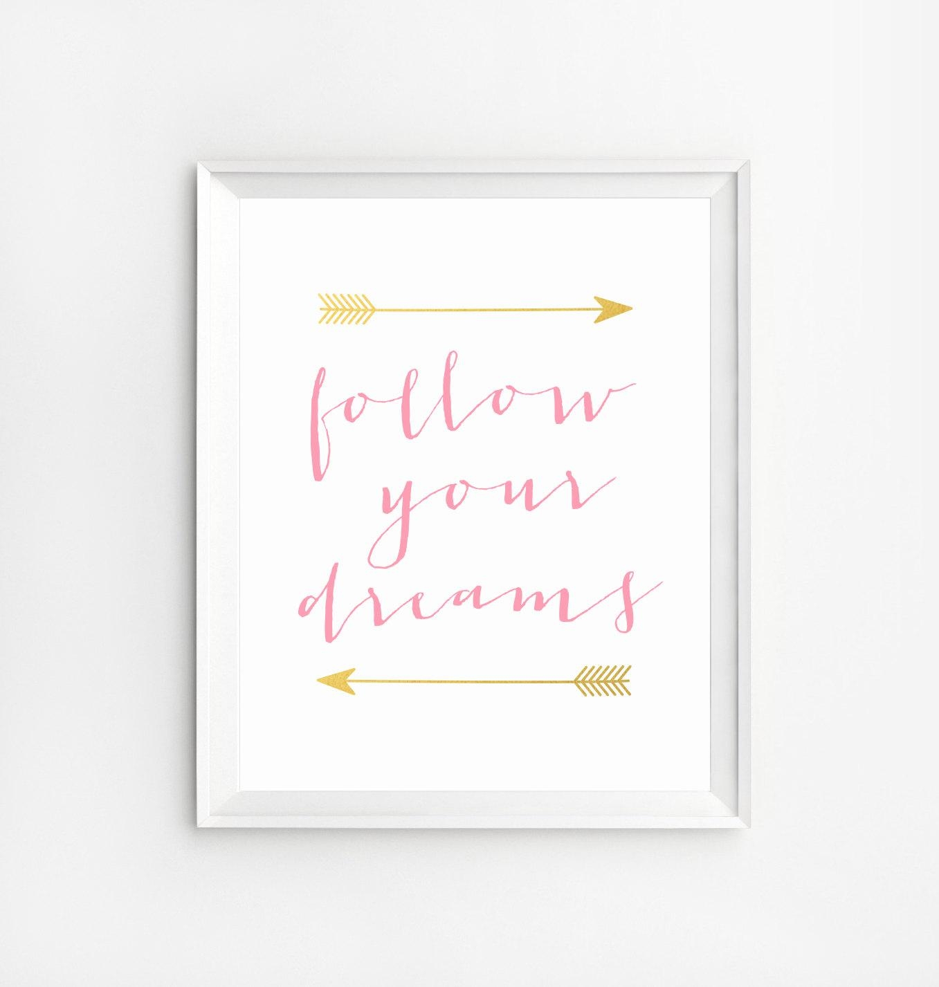Follow Your Dreams Print Glitter And Pink Wall Art Quote Within Pink And White Wall Art (Image 7 of 20)