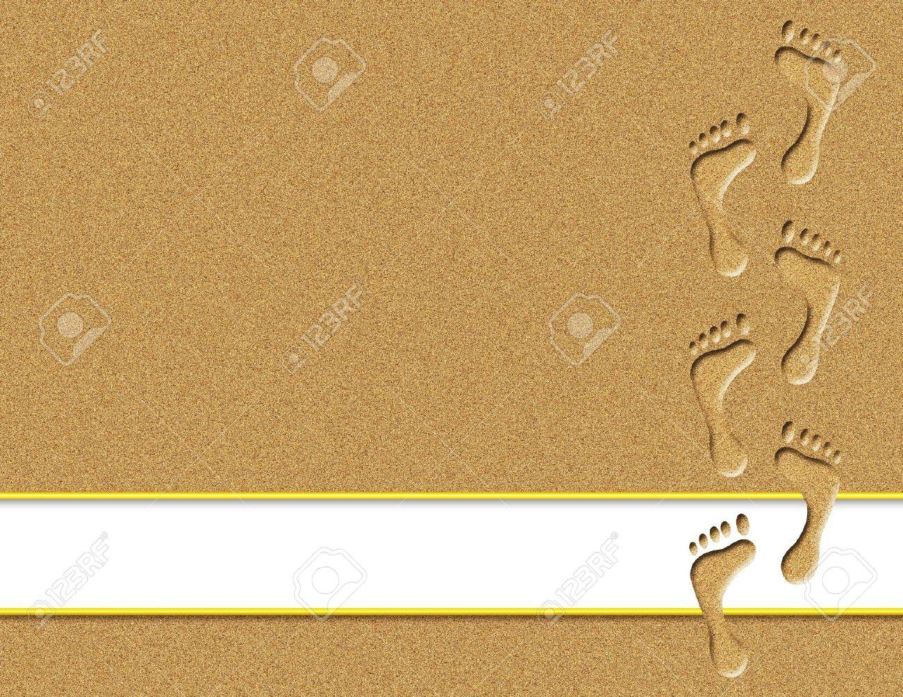 Footprints In Sand With White Banner For Text Stock Photo, Picture Intended For Footprints In The Sand Wall Art (Image 5 of 20)