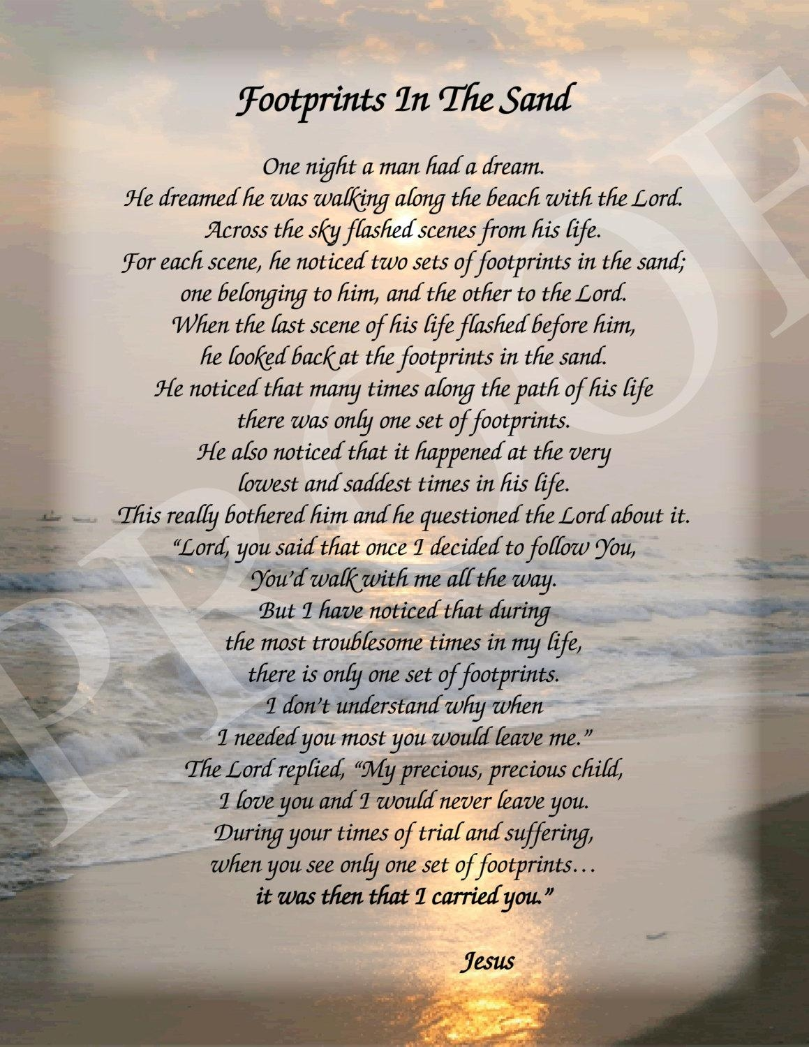 Footprints In The Sand Poem (View 13 of 20)