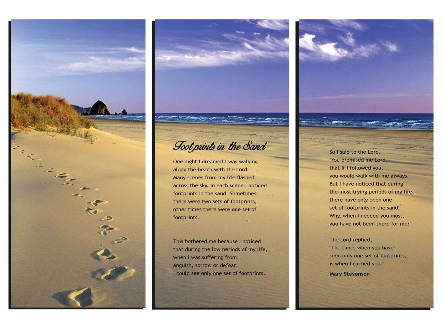 Footprints In The Sand Poem Canvas Wall Art Framed Huge In Footprints In The Sand Wall Art (View 2 of 20)