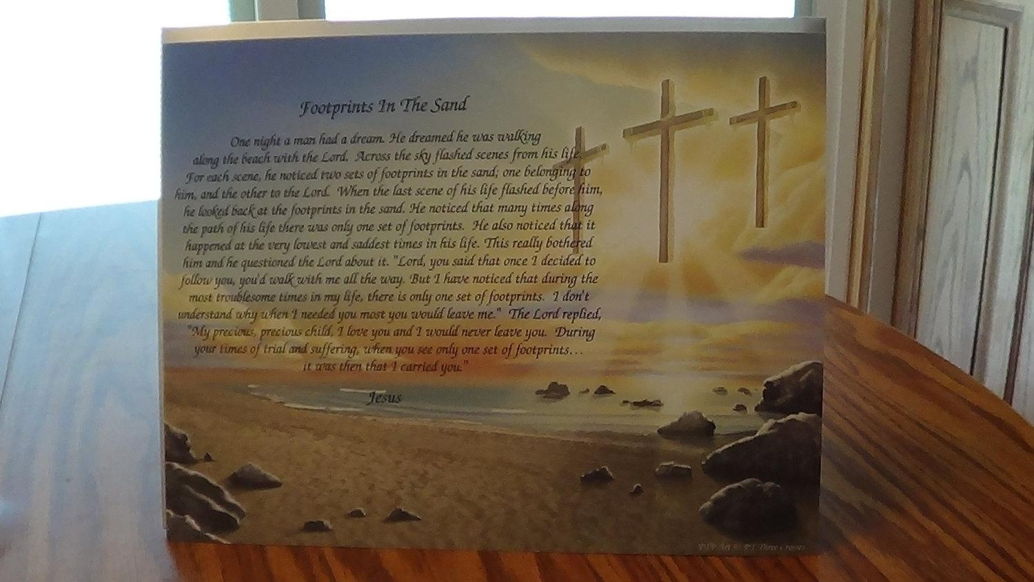 Footprints In The Sand Poem High Quality Print Three Crosses Regarding Footprints In The Sand Wall Art (View 8 of 20)