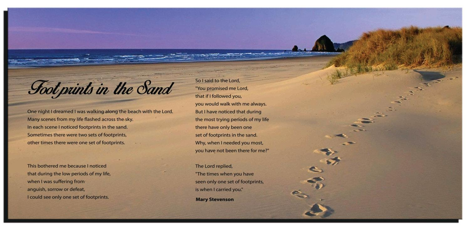 Footprints In The Sand Wall Quotes Framed Canvas Gallery Inside Footprints In The Sand Wall Art (View 6 of 20)