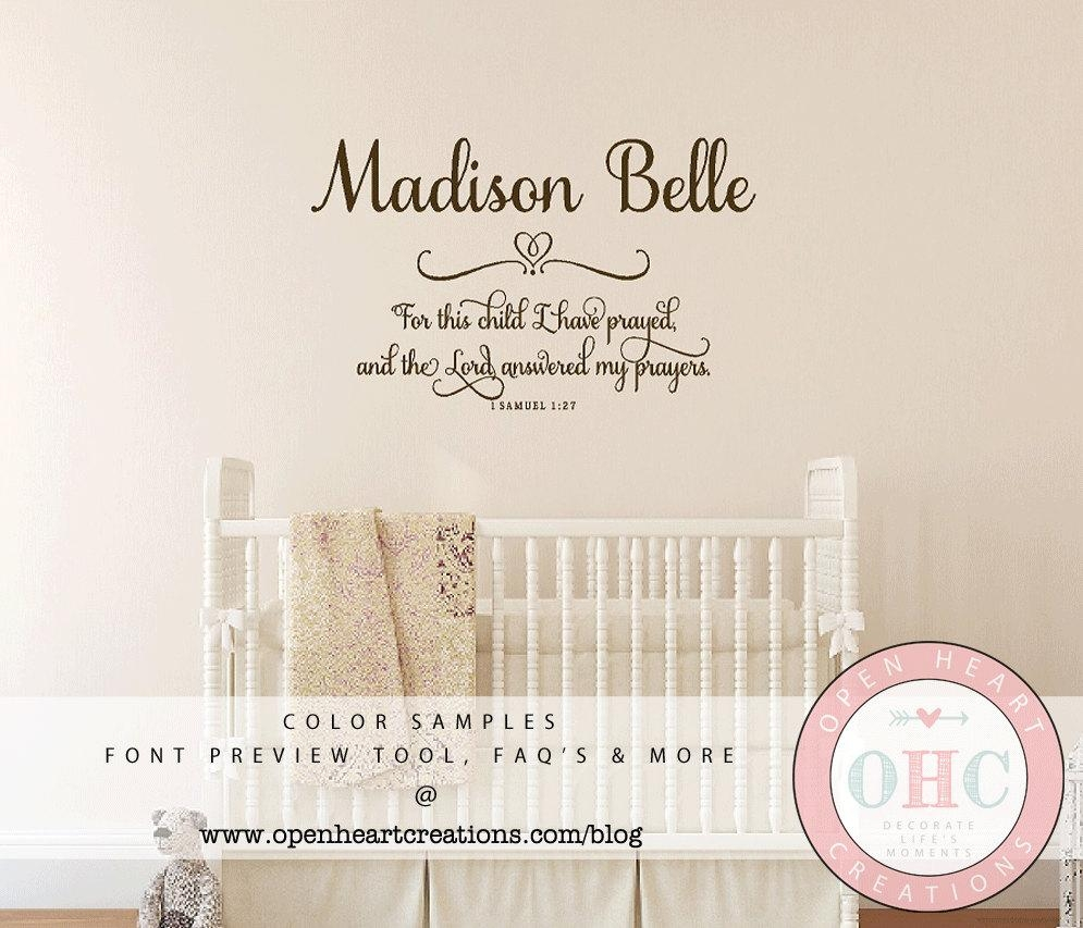For This Child I Prayed Wall Decal With Baby Name 1 Samuel 1 Inside For This Child I Prayed Wall Art (View 3 of 20)
