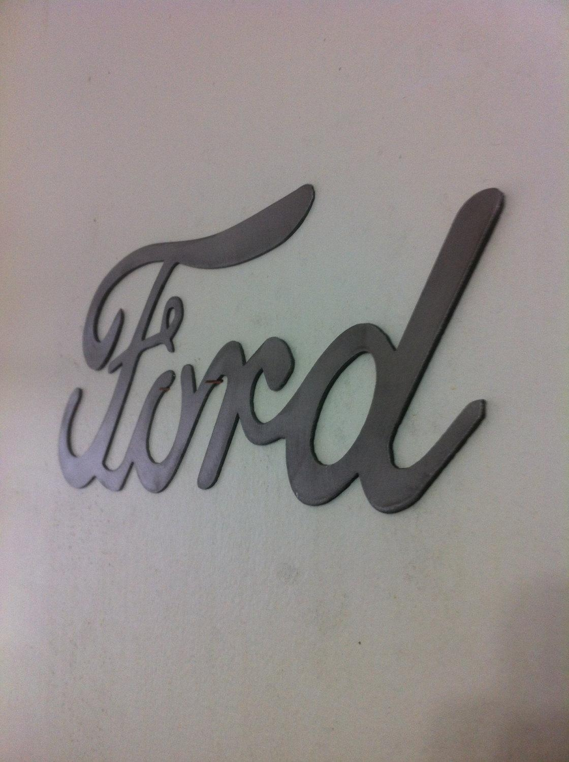 Ford Cursive Metal Wall Art Sign With Regard To Ford Mustang Metal Wall Art (Image 9 of 20)