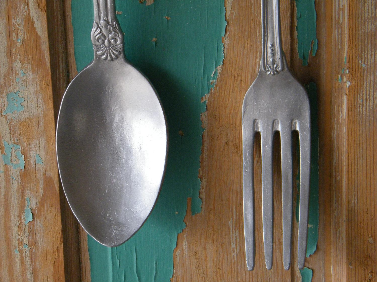 Fork And Spoon Wall Art Oversize Kitchen Art Fork And Spoon For Utensil Wall Art (View 9 of 21)