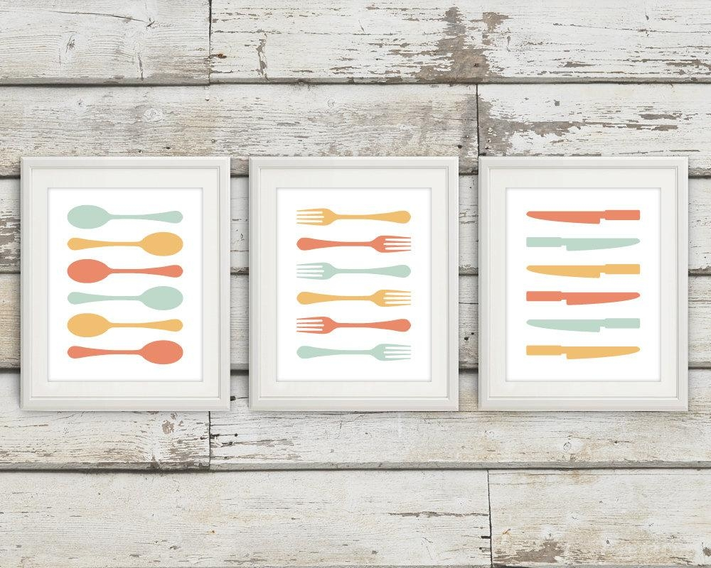 Fork And Spoon Wall Decor Fork And Spoon Wall Art Fork Spoon Throughout Silverware Wall Art (Image 10 of 20)