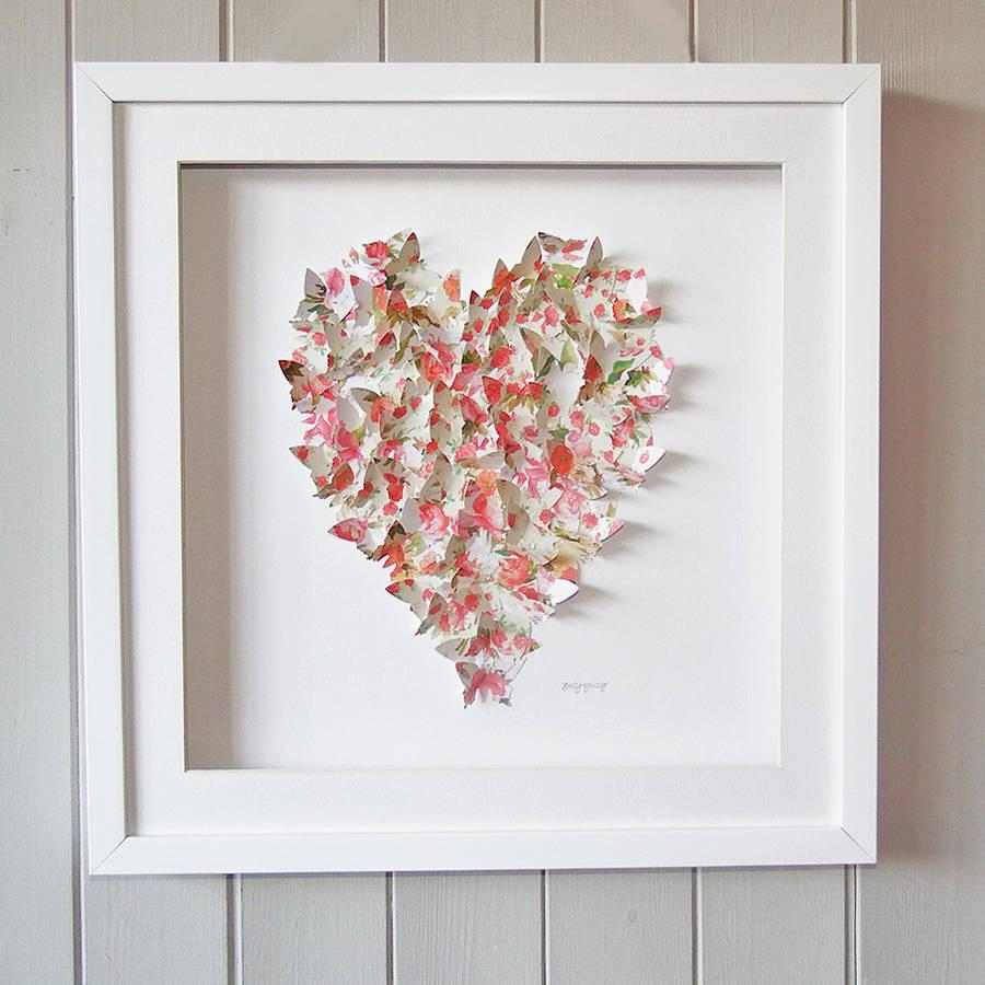 Framed 3D Butterfly Heart Vintage Artworkdaisy Maison Intended For 3D Butterfly Framed Wall Art (Image 13 of 20)