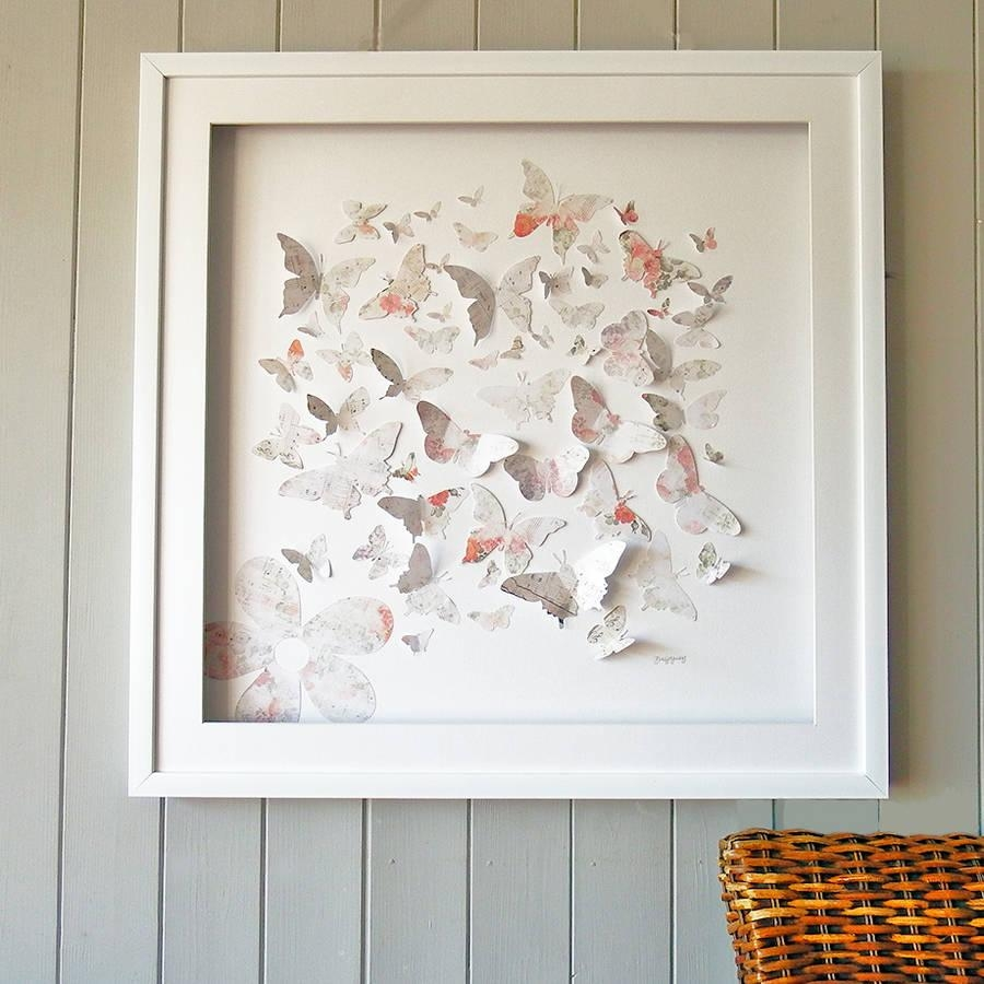 Framed 3D Vintage Butterfly Artworkdaisy Maison Intended For 3D Butterfly Framed Wall Art (Image 14 of 20)