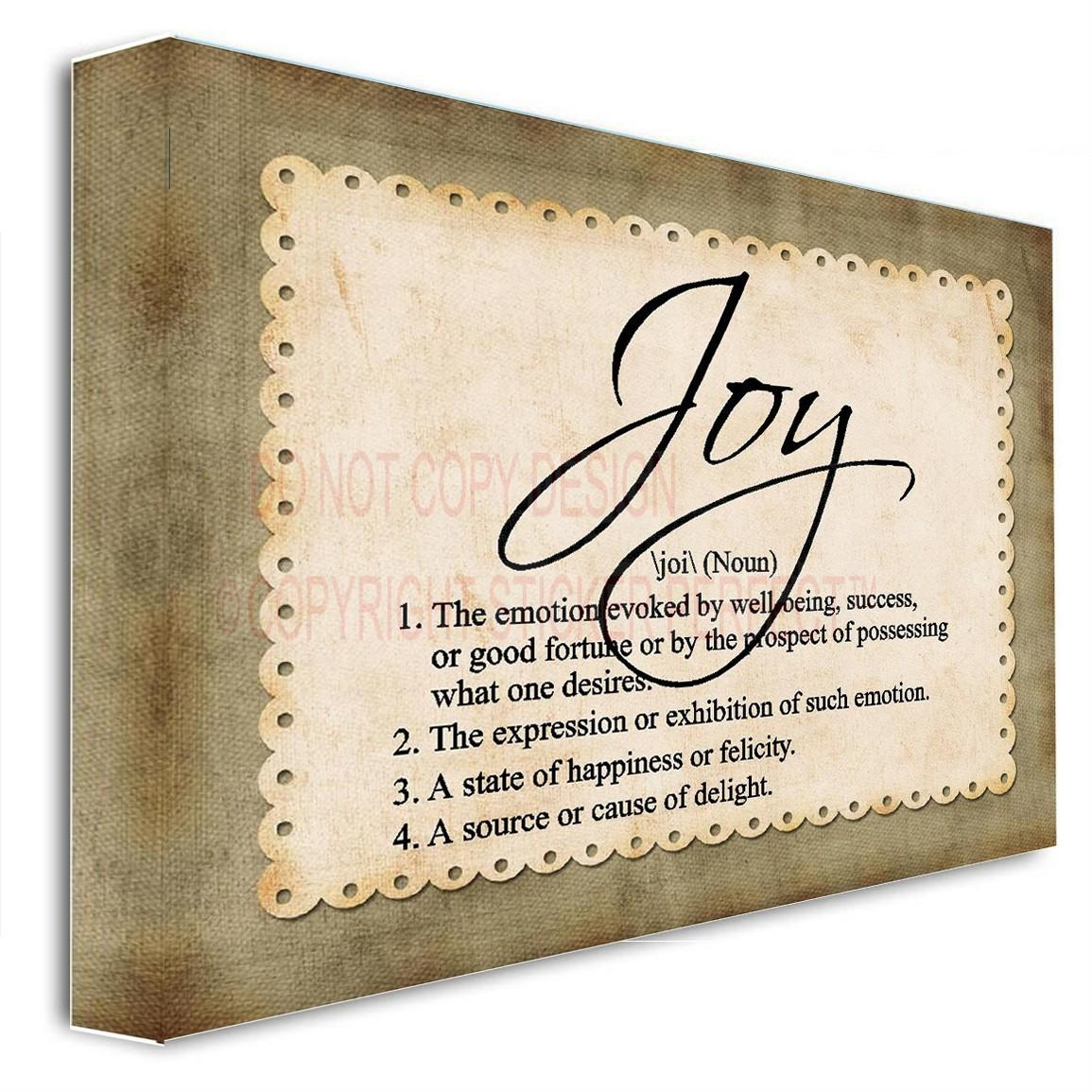 Framed Canvas Print Joy (Noun) Definition Inspirational Wall Art For Framed Wall Art Sayings (Image 11 of 20)