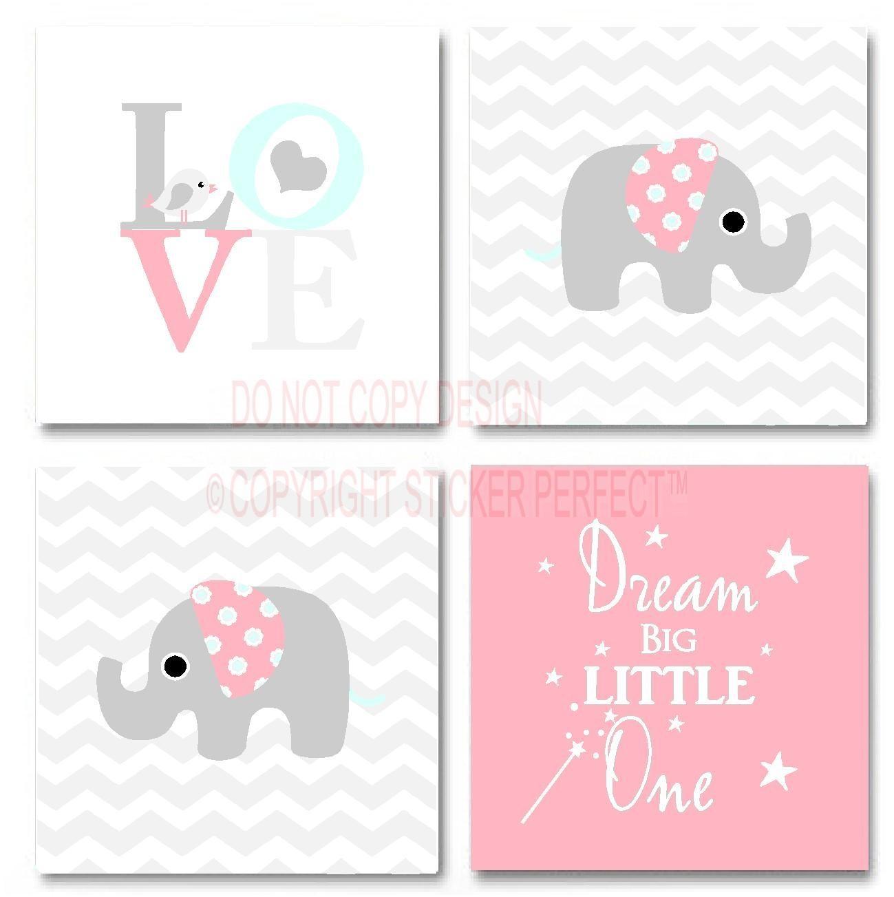 Framed Canvas Print Love 4 Piece Set #2 Cute Elephant Bird Inside Framed Wall Art Sayings (View 7 of 20)