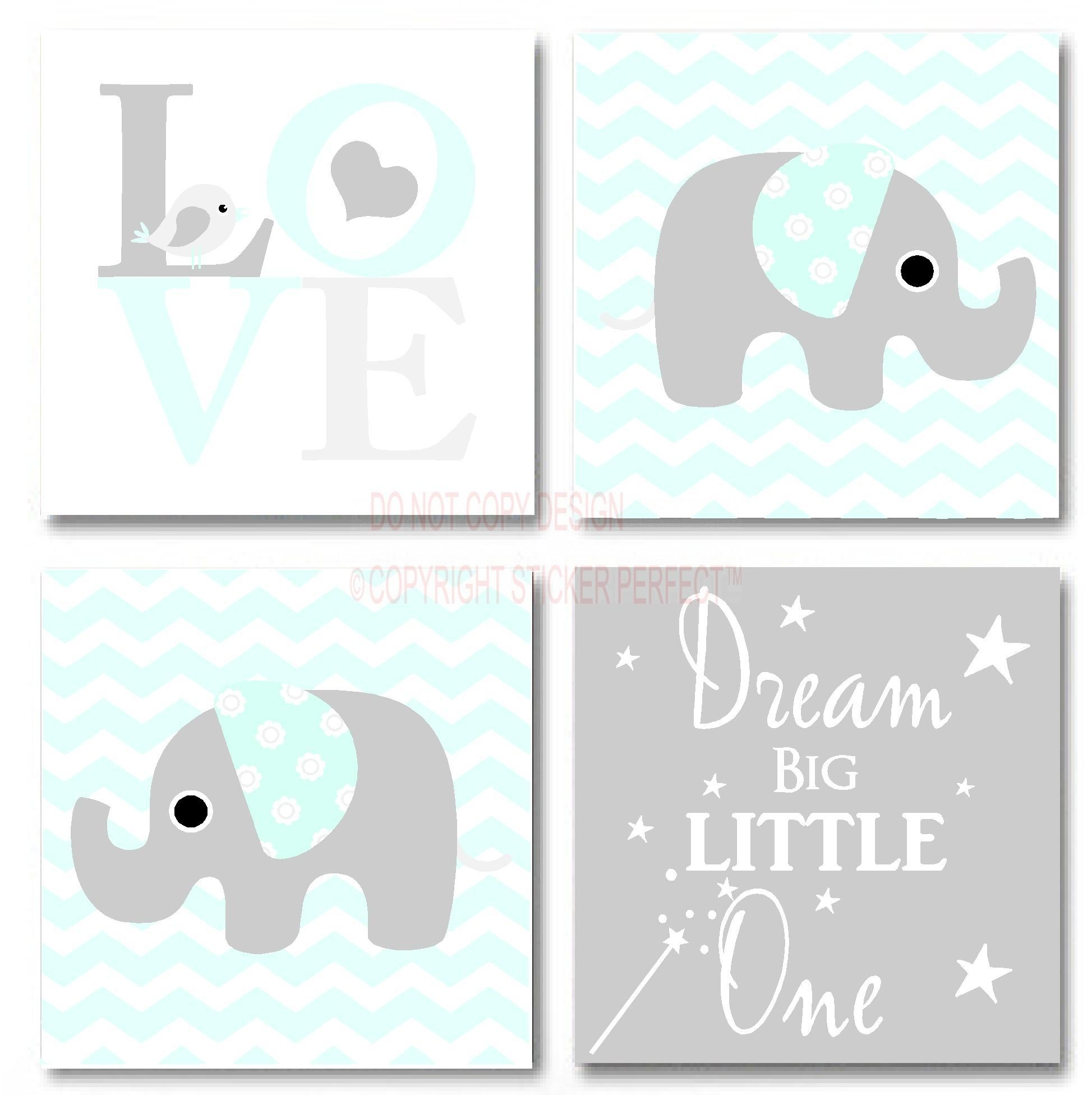 Framed Canvas Print Love 4 Piece Set Cute Elephant Bird In Inspirational Quotes Canvas Wall Art (Image 3 of 20)