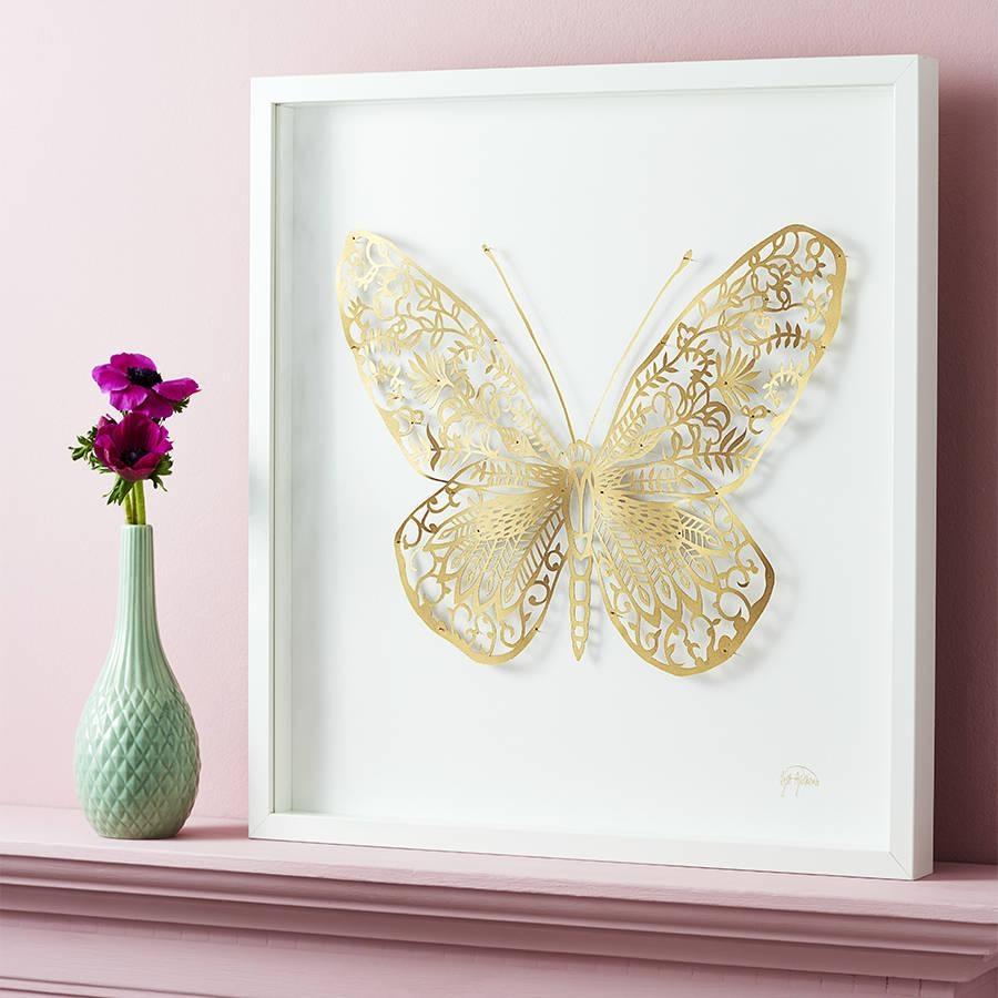 Framed Handmade 3D Butterfly Paper Artgill Gutherie For 3D Butterfly Framed Wall Art (Image 15 of 20)