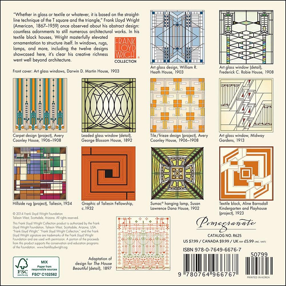 Frank Lloyd Wright Designs 2015 Mini Wall Calendar: 9780764966767 Throughout Frank Lloyd Wright Wall Art (Image 8 of 20)