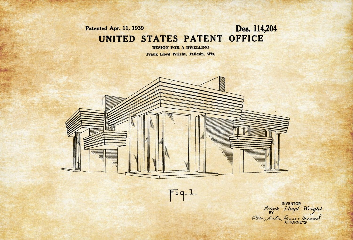 Frank Lloyd Wright House Design Patent – Decor, Patent Print, Wall Throughout Frank Lloyd Wright Wall Art (View 13 of 20)