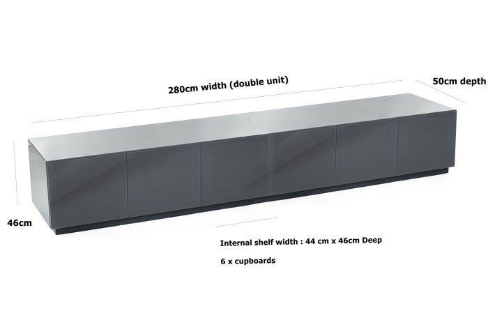 Frank Olsen Chic280 High Gloss Grey 280Cm Wide Tv Cabinet Regarding Latest Wide Tv Cabinets (Image 10 of 20)