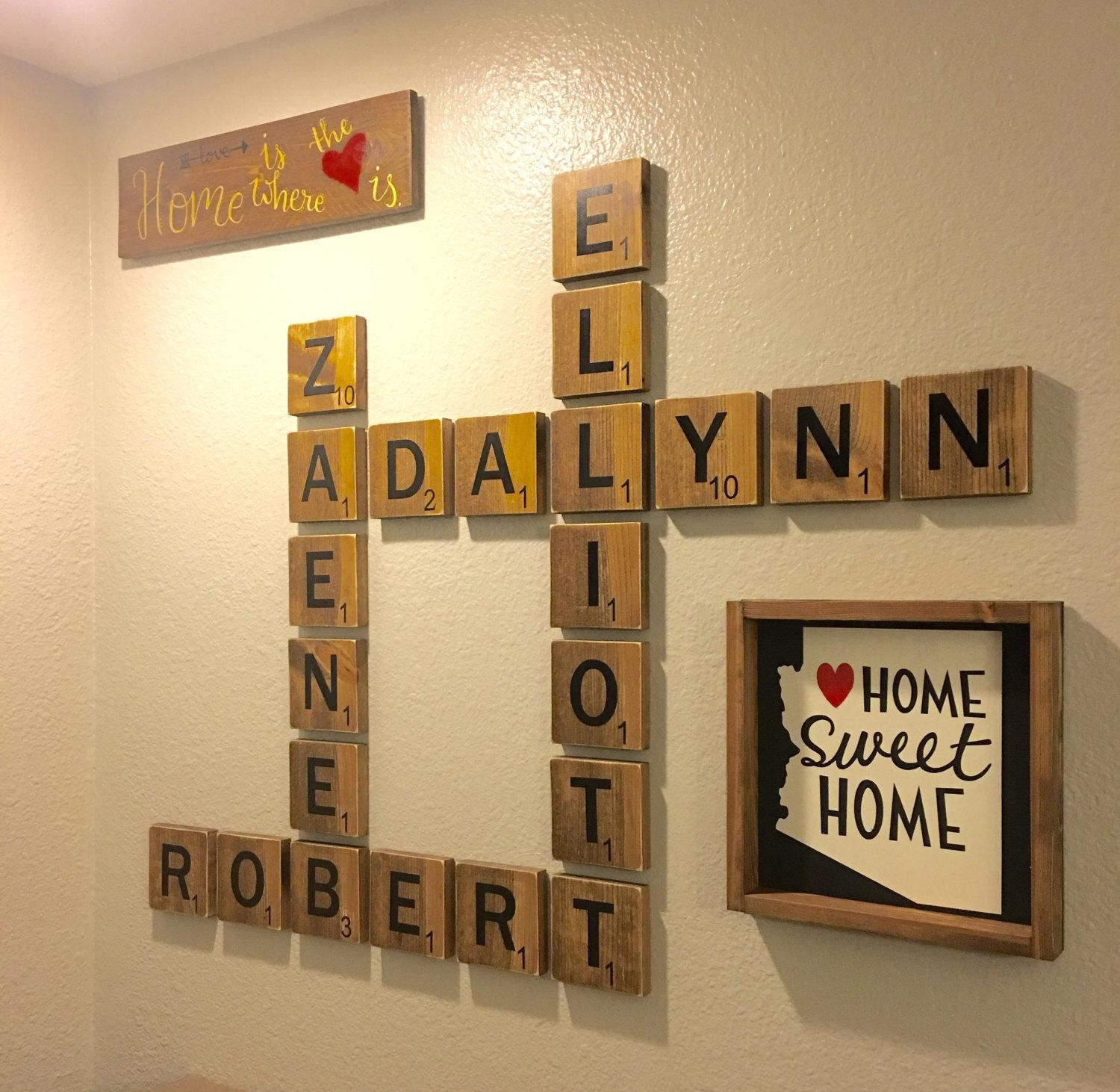 Free Shipping For A Limited Time Wooden Scrabble Tiles Within Scrabble Letter Wall Art (View 3 of 20)