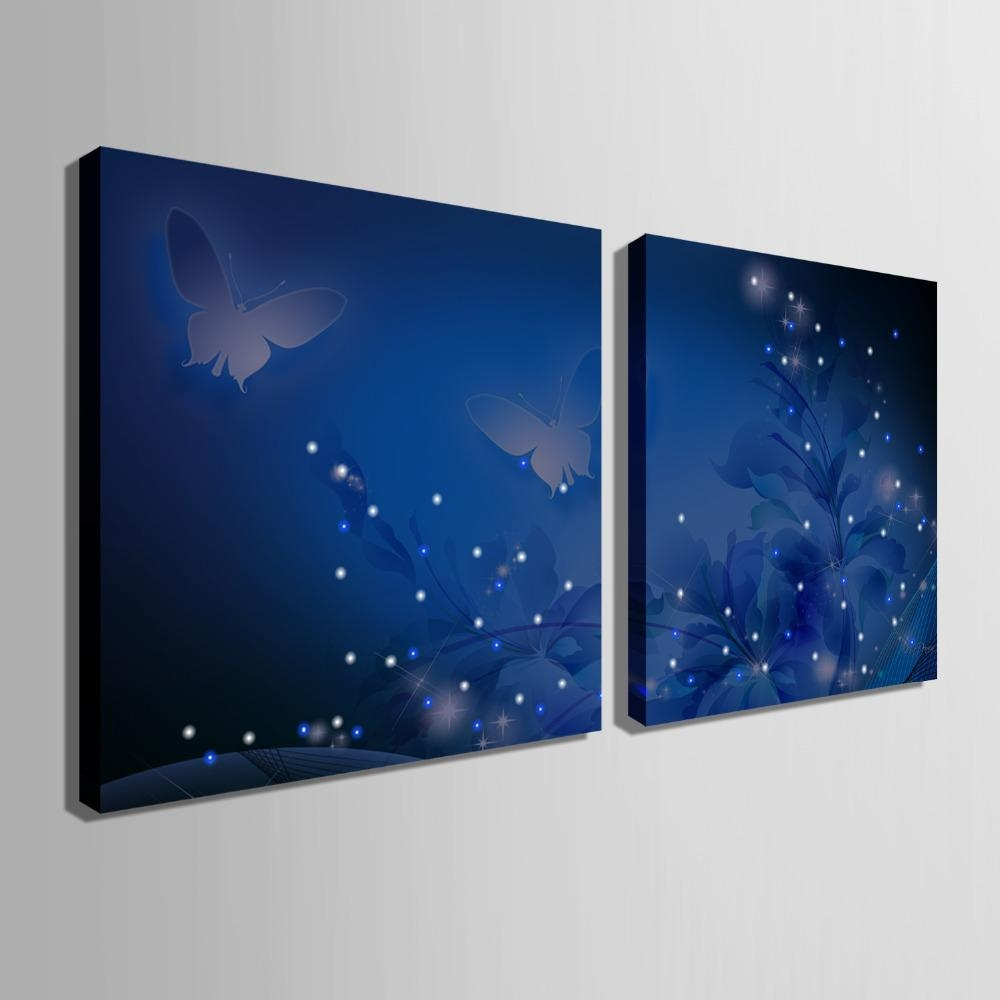 Free Shipping Stretched Canvas Prints Shining Butterfly Led Pertaining To Fiber Optic Wall Art (View 19 of 20)