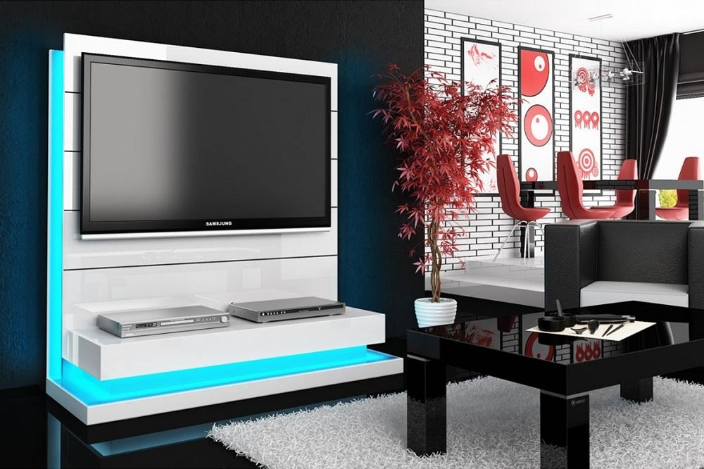 Free Standing Panorama Lux White Tv Stand For Best And Newest Freestanding Tv Stands (Image 7 of 20)