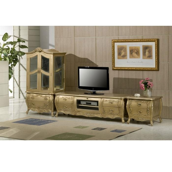 French Entertainment Center | Indonesian French Furniture | Teak Within 2017 Gold Tv Cabinets (View 2 of 20)
