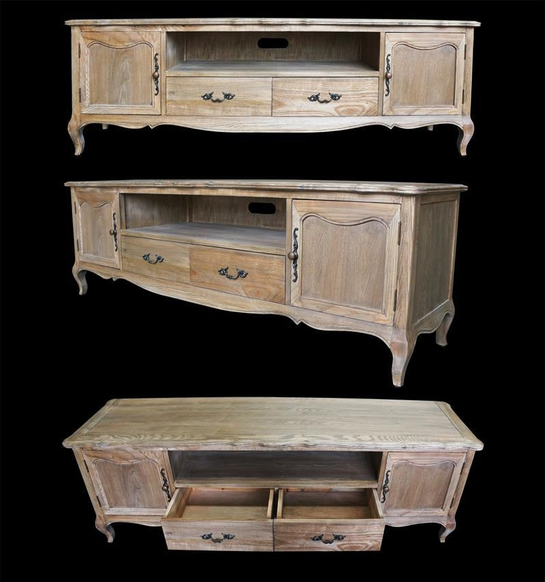 French Furniture Provincial Entertainment Unit Tv Stand In Natural With Most Recent French Style Tv Cabinets (View 2 of 20)