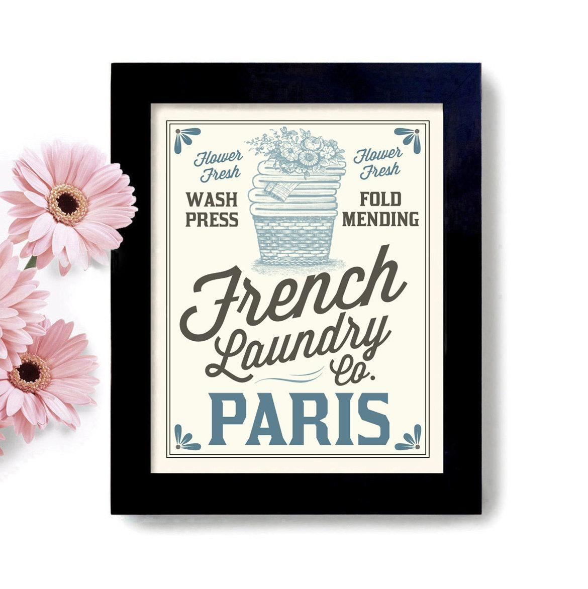 French Laundry Basket Laundry Room Decor Home Laundry Art Sign For French Bathroom Wall Art (View 15 of 20)