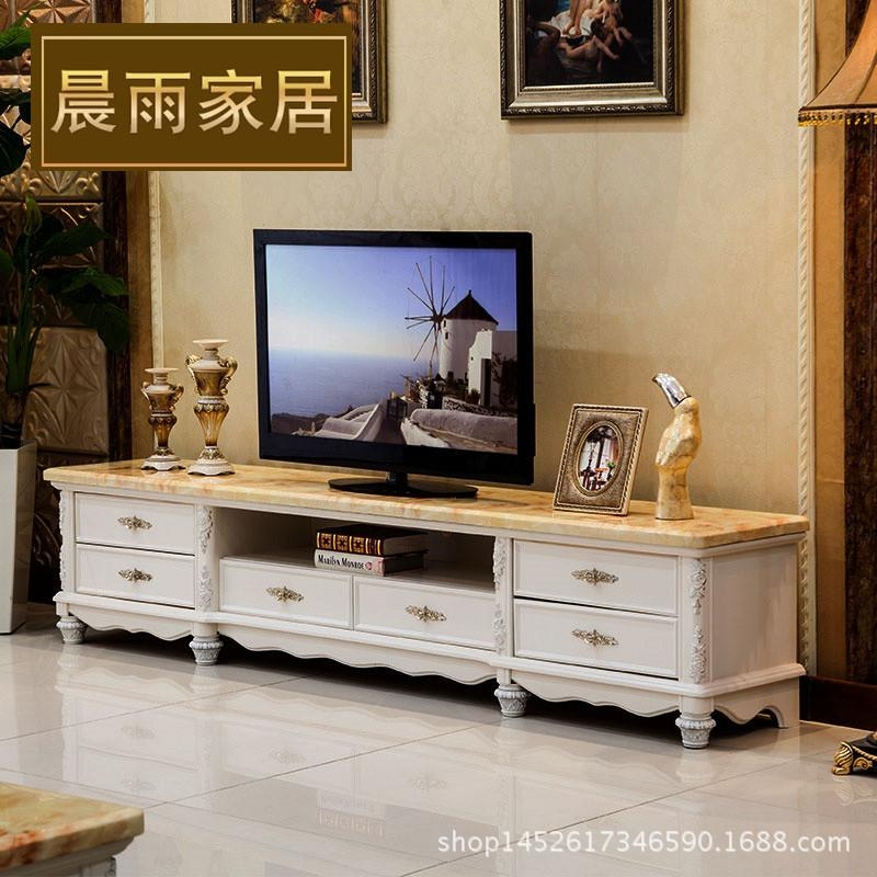 French Marble Storage Tv Cabinet Solid Wood Carving Ivory Paint With Regard To Current French Tv Cabinets (Image 9 of 20)