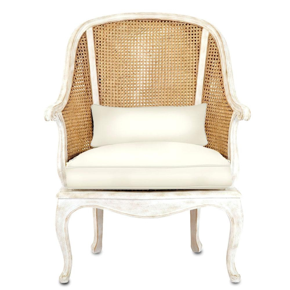 French Shabby Cane Arm Chair – Natural Cane And Antique White Inside White Cane Sofas (Image 9 of 25)
