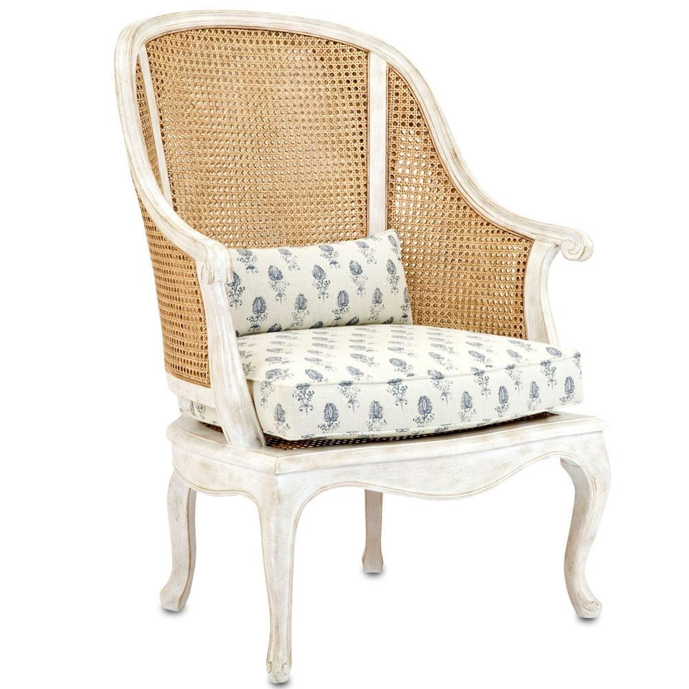 French Shabby Cane Arm Chair – Natural Cane And Antique White Pertaining To White Cane Sofas (Image 10 of 25)