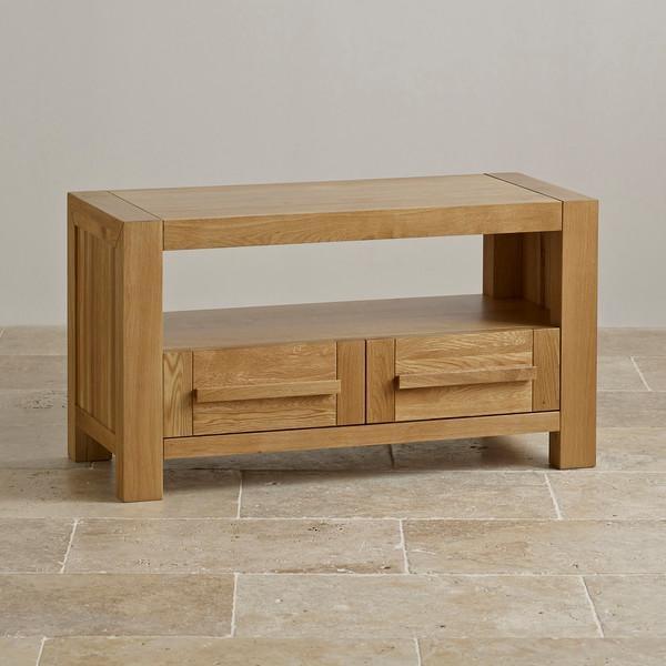 Fresco 2 Drawer Tv Cabinet In Solid Oak | Oak Furniture Land Throughout Most Recent Solid Oak Tv Cabinets (Image 8 of 20)
