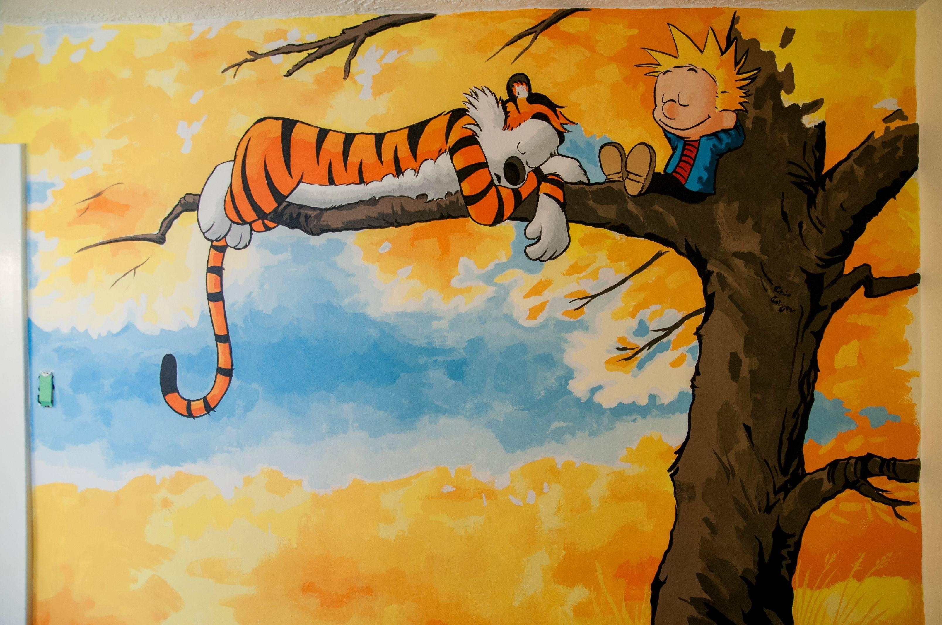 Friends Asked Me To Paint A Calvin & Hobbes Mural In Their Nursery Intended For Calvin And Hobbes Wall Art (Image 13 of 20)