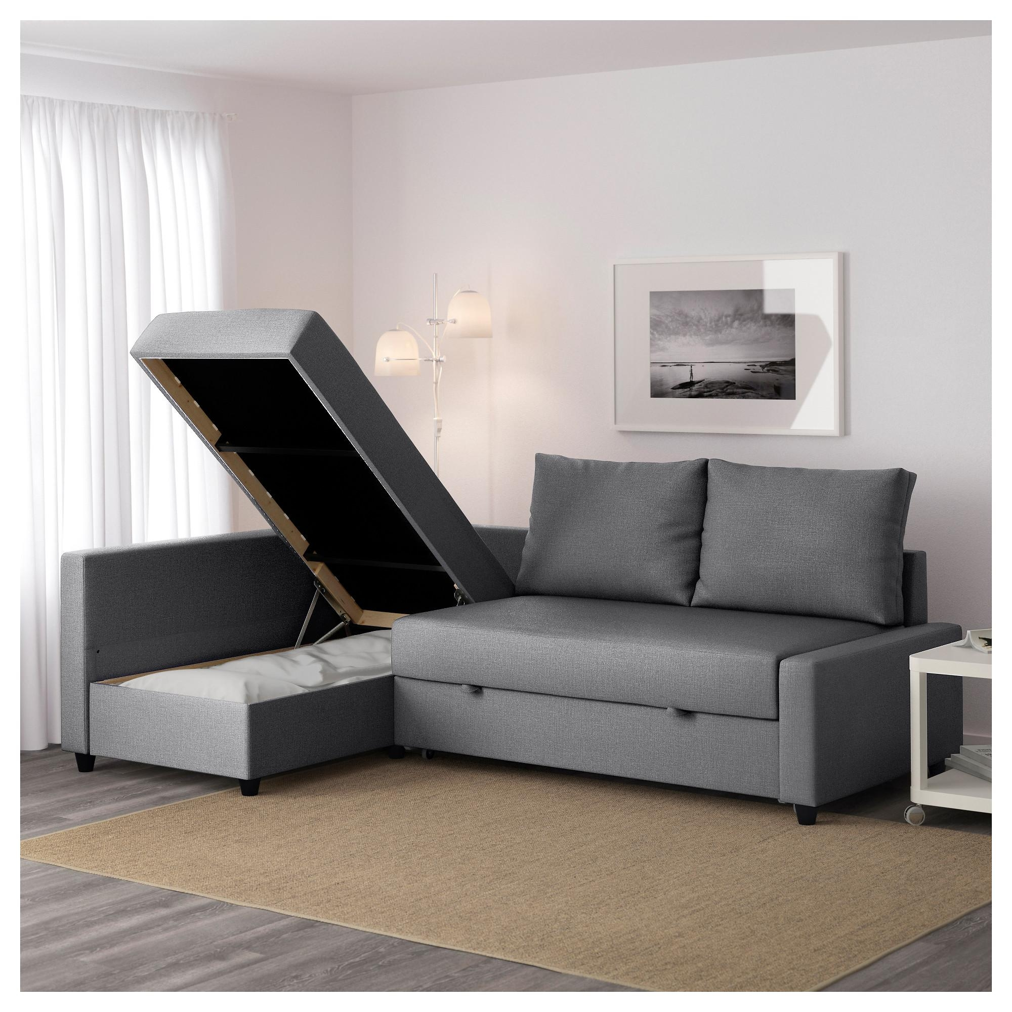 Friheten Corner Sofa Bed With Storage – Skiftebo Dark Grey – Ikea Regarding Storage Sofa Beds (View 8 of 20)