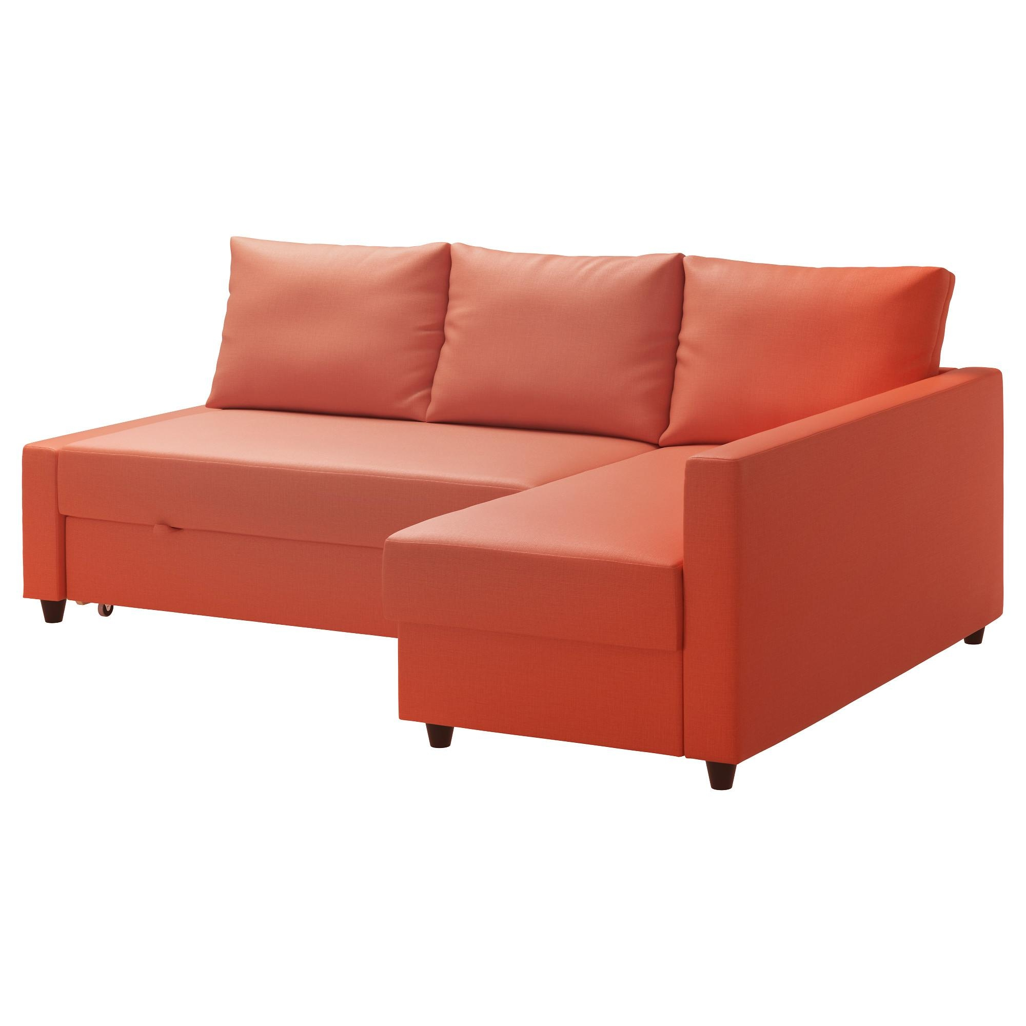 Friheten Corner Sofa Bed With Storage – Skiftebo Dark Orange – Ikea Regarding Orange Ikea Sofas (Image 4 of 20)