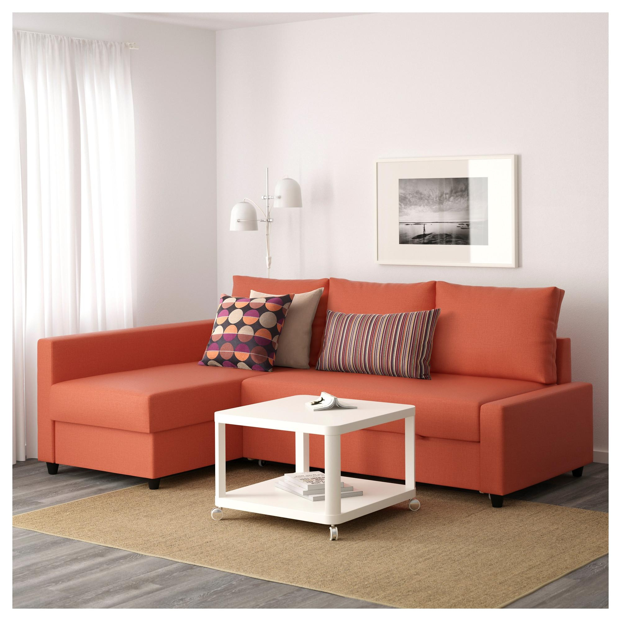 Friheten Corner Sofa Bed With Storage Skiftebo Dark Orange – Ikea Throughout Orange Ikea Sofas (View 2 of 20)