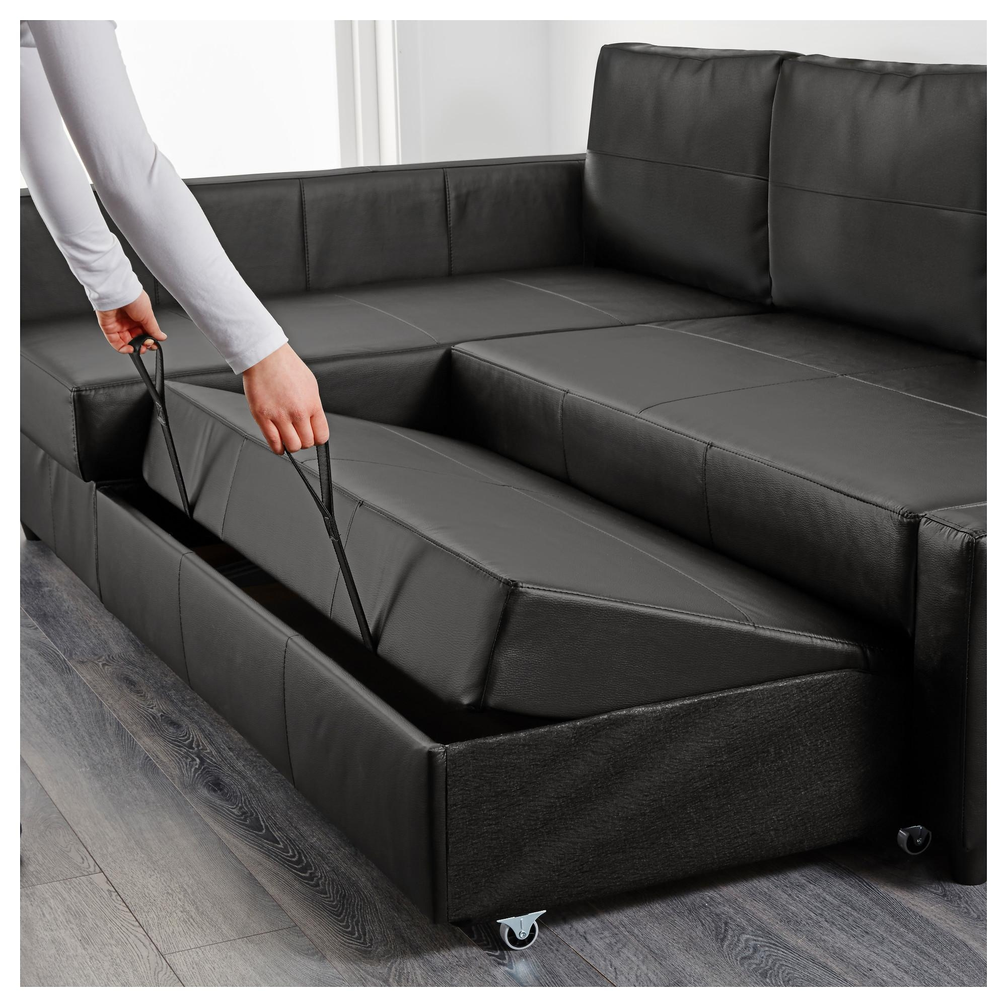 Friheten Sleeper Sectional,3 Seat W/storage – Skiftebo Dark Gray Intended For Leather Storage Sofas (View 2 of 21)
