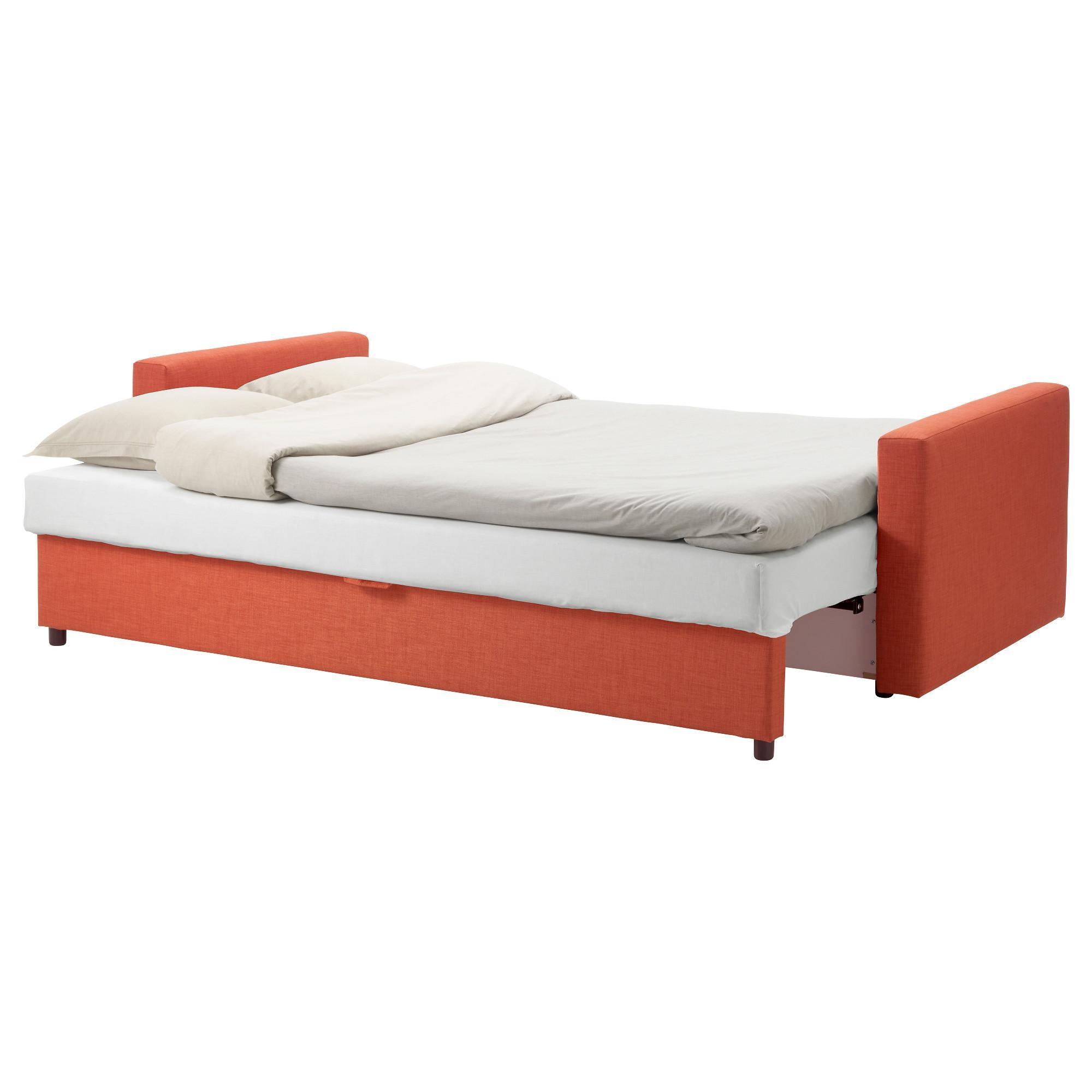 Friheten Three Seat Sofa Bed Skiftebo Dark Orange – Ikea Inside Orange Ikea Sofas (Image 7 of 20)