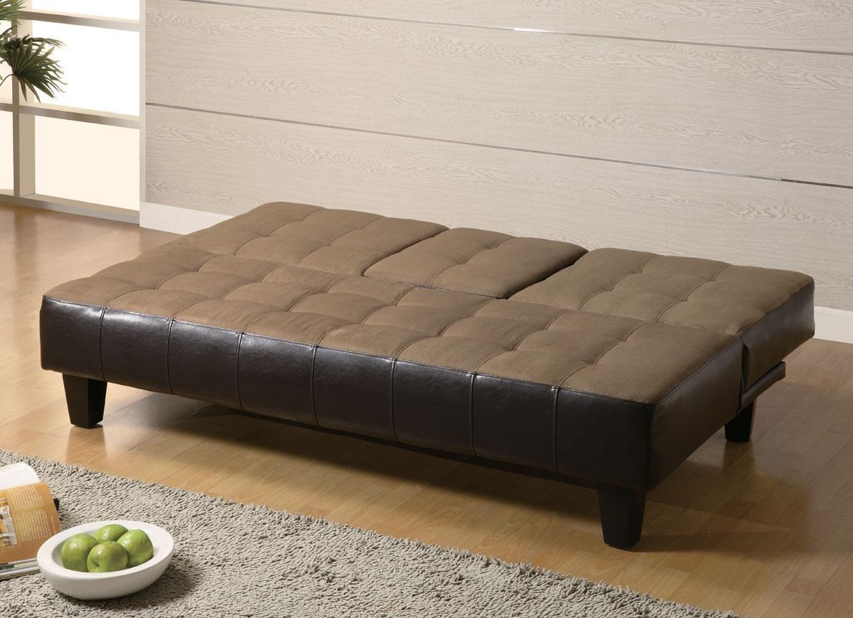 Fulton Tan Microfiber Convertible Sofa Bed Couch Sleeper 2 Ottoman Pertaining To Fulton Sofa Beds (Image 8 of 21)