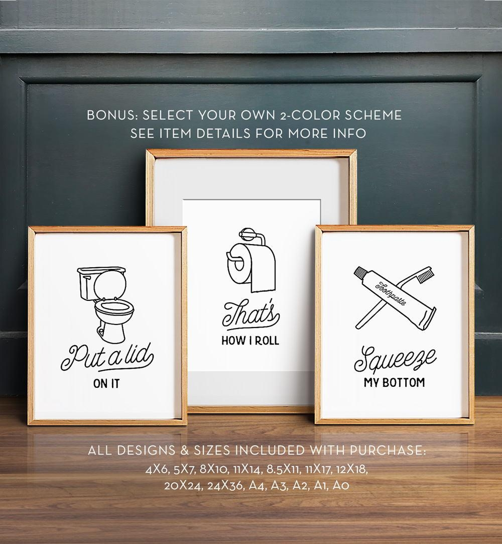 Funny Wall Art Bathroom Art Printable Art Set Of 3 Pertaining To Wall Art For The Bathroom (Image 13 of 20)