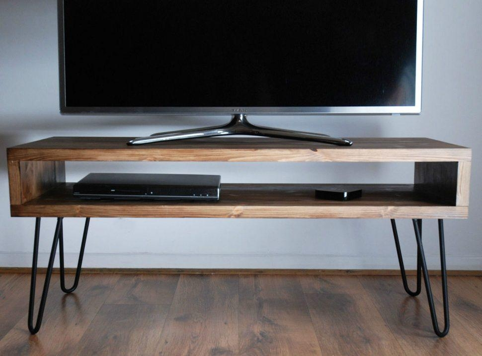 Furniture Accessories : Rectangular Brown Wooden Tvs Stand With Pertaining To Most Recently Released Hairpin Leg Tv Stands (View 13 of 20)