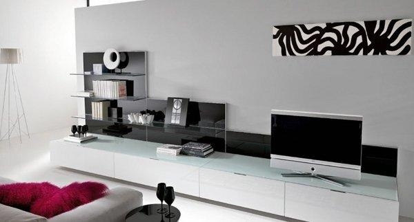 Furniture : Awesome Living Room With Long White Minimalist Tv In Latest Long White Tv Stands (Image 7 of 20)