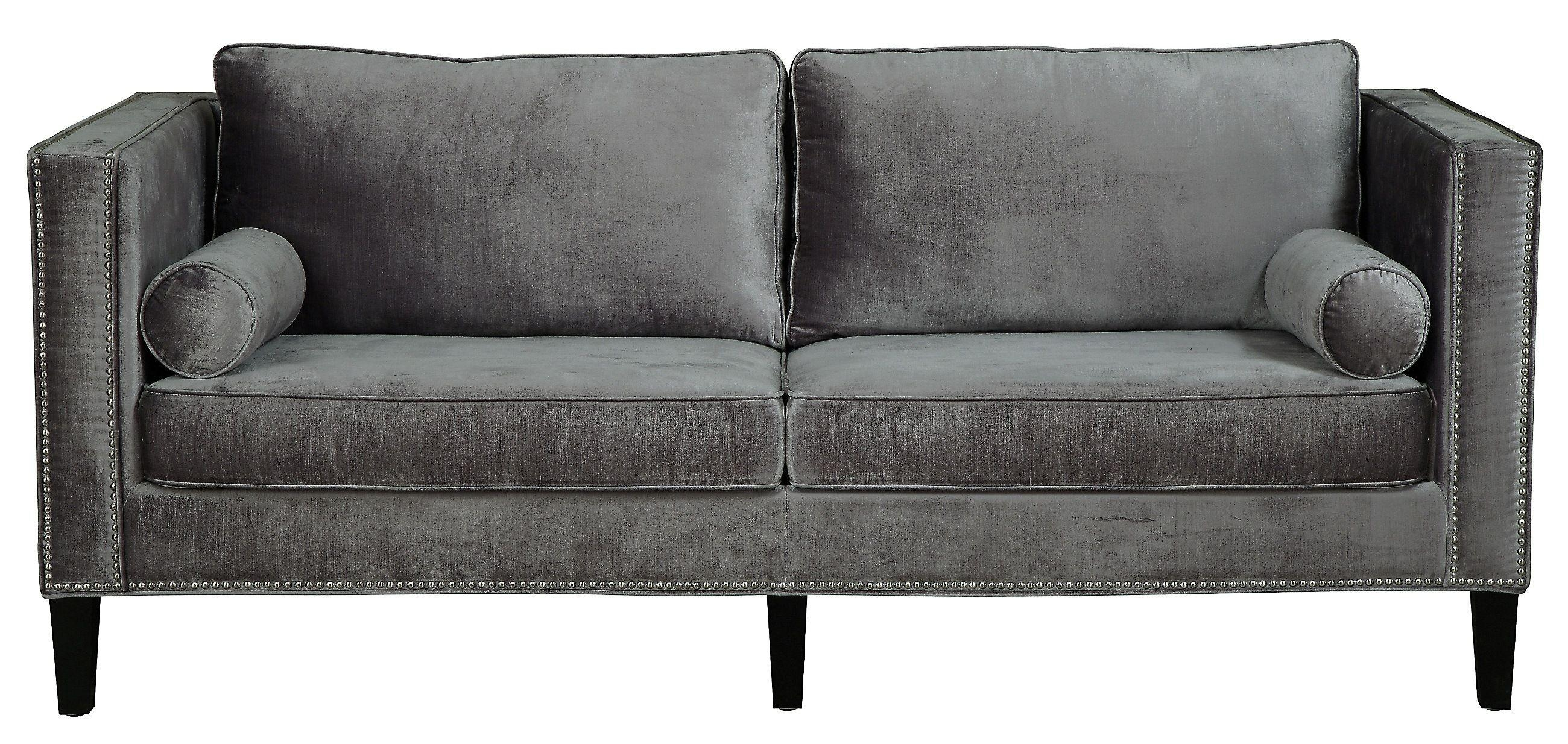 Furniture: Best Quality Grey Velvet Sofa For Your Living Room Pertaining To Black Velvet Sofas (Image 6 of 20)