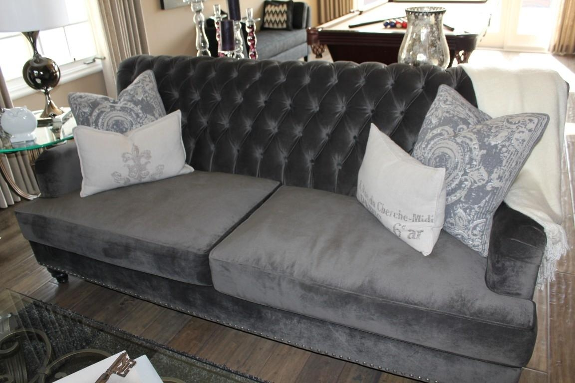 Furniture: Best Quality Grey Velvet Sofa For Your Living Room With Regard To Blue Tufted Sofas (Image 10 of 22)