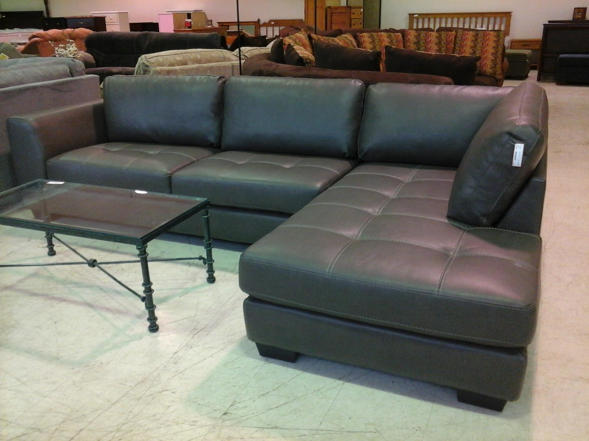 Furniture: Cool Grey Leather Sectional Couches Design With Glass Intended For Gray Leather Sectional Sofas (Image 10 of 21)