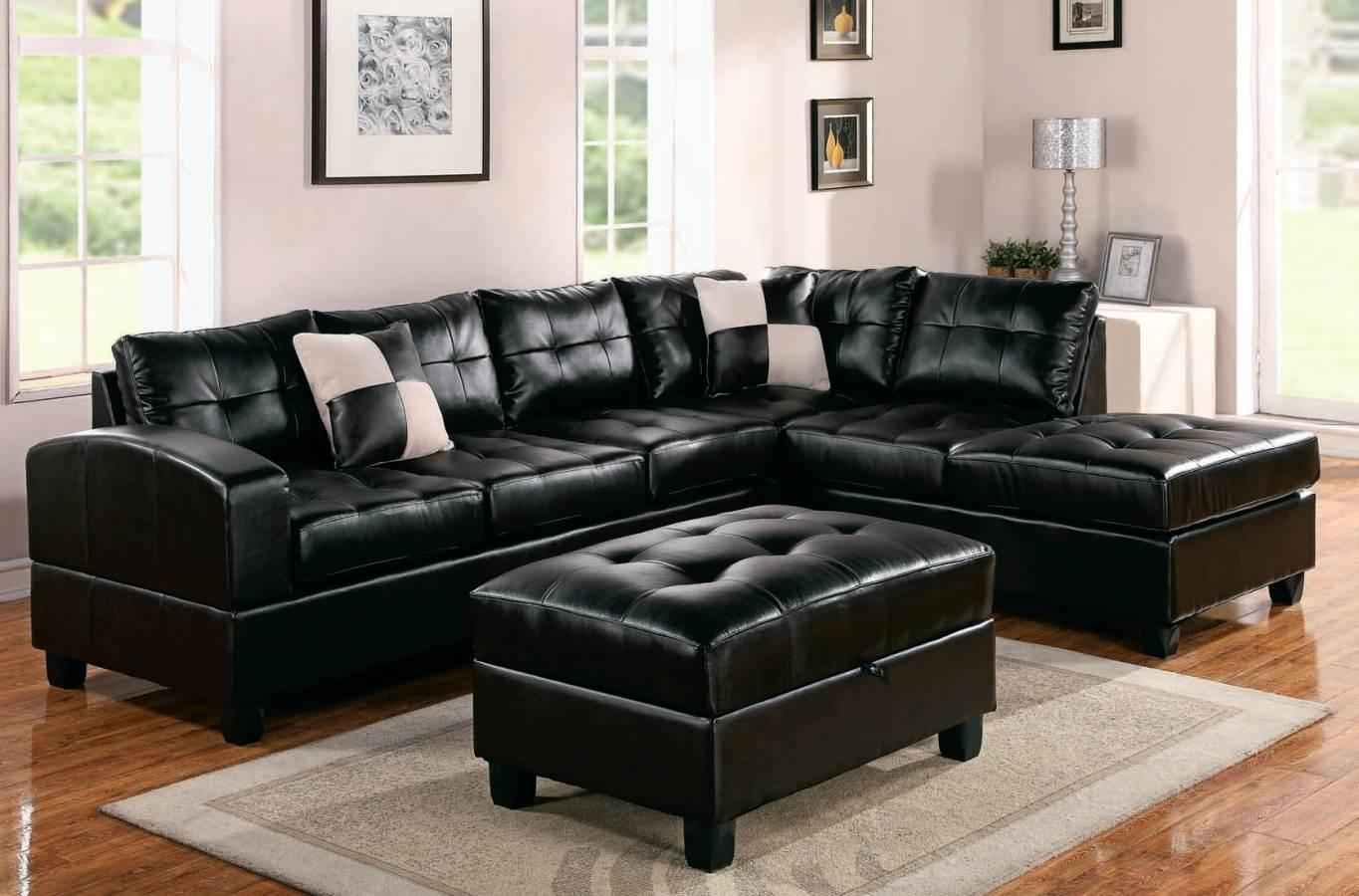 Furniture: Find The Perfect Leather Sectionals For Sale Pertaining To Black Leather Sectional Sleeper Sofas (Image 6 of 21)