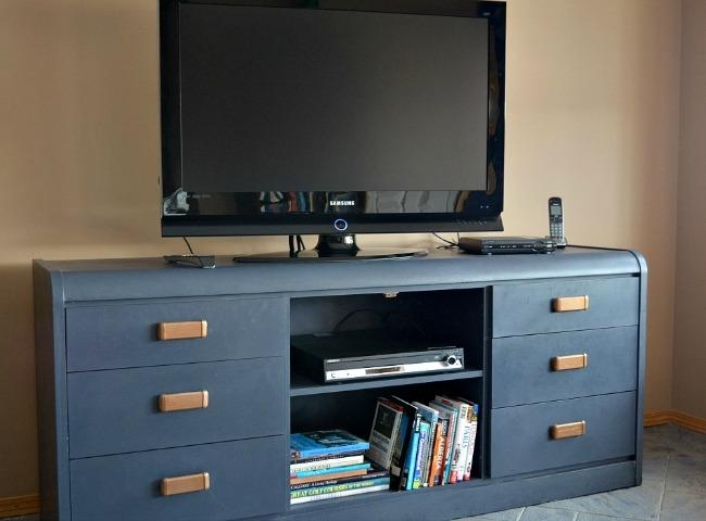 Furniture Makeover: Outdated Dresser To New Tv Stand ~ Time With Thea Inside Most Recently Released Blue Tv Stands (Image 10 of 20)