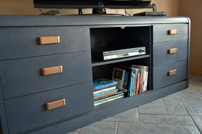 Furniture Makeover: Outdated Dresser To New Tv Stand ~ Time With Thea Intended For Newest Painted Tv Stands (Image 9 of 20)