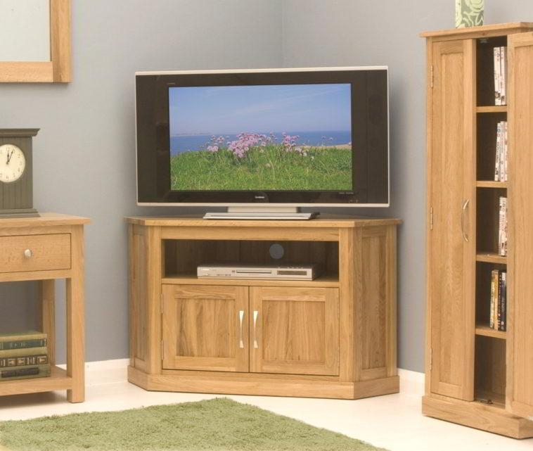 Featured Image of Corner Oak Tv Stands For Flat Screen