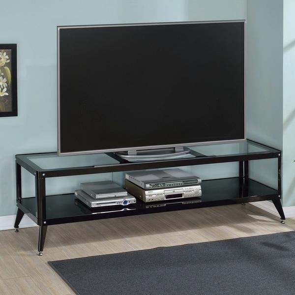 Furniture Of America Linden Modern Glass Top Tv Stand – Free With Regard To Best And Newest Modern Glass Tv Stands (Image 4 of 20)