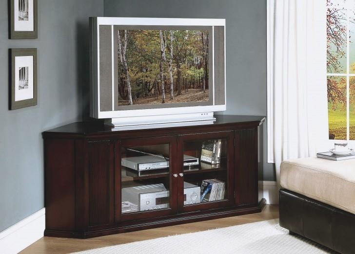 Furniture : Outstanding Flat Screen Tv Wall Cabinets With Doors To With  Most Popular Corner Tv