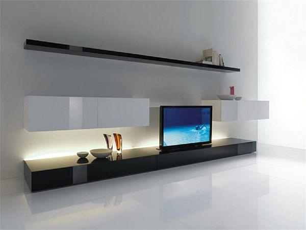 Furniture : Ultra Modern Room Decor With Long Black Tv Stand For Best And Newest Long Black Tv Stands (Image 9 of 20)